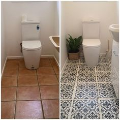 Faux Tile floor pattern spa bathroom ideas on a budget using easy-to-use DIY tile stencil patterns from Cutting Edge Stencils