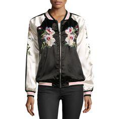 On The Road Reversible Bomber Jacket ($83) ❤ liked on Polyvore featuring outerwear, jackets, bomber jacket, bomber style jacket, flight jacket, long sleeve jacket and blouson jacket
