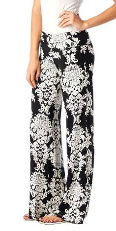 Popana Damask Palazzo Pants - Made In USA, Black, X-Large - http://best-women-shop.xyz/2016/06/13/popana-damask-palazzo-pants-made-in-usa-black-x-large/