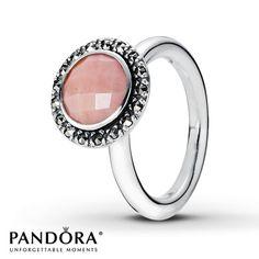 PANDORA RING PINK OPAL & MARCASITE