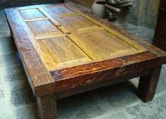 Old door table.  I like the chunkiness of the legs but not the door style