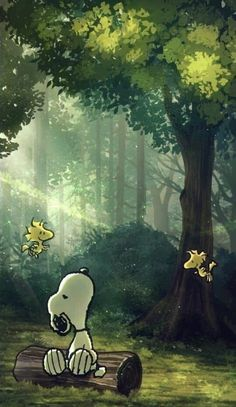 trees dressed in emerald green, kissed with sunlight's gold. Snoopy Love, Snoopy E Woodstock, Snoopy Images, Snoopy Pictures, Animes Wallpapers, Cute Wallpapers, Wallpaper Backgrounds, Peanuts Cartoon, Peanuts Snoopy
