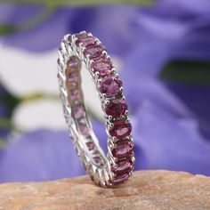 Orissa Rhodolite Garnet Eternity Ring in Platinum Overlay Sterling Silver (Nickel Free)