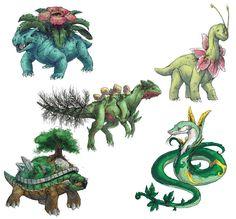 Realistic Pokemon Sketches: Grass Final Evolutions by ~nauvasca on deviantART