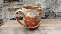 Large Green and Brown Mug Ceramic Ready to Ship by WorksofHope