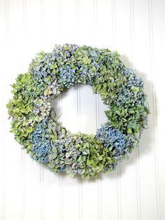 Blue Hydrangea Dried Floral Wreath