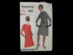 Dressmaking pattern; Simplicity - No.6141 - Misses two piece dress. Paper pattern.