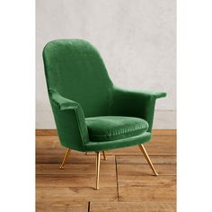 Anthropologie Velvet Kimball Chair ($1,598) ❤ liked on Polyvore featuring home, furniture, chairs, green, green chair, 60s furniture, anthropologie chair, velvet chairs and 1960s furniture