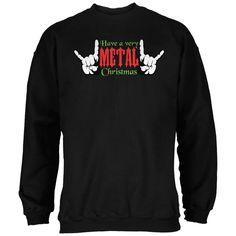 Christmas Heavy Metal Horns Black Adult Sweatshirt