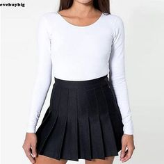 2ca33be5611 Details about Women Lady Tennis High Waist Plain Skater Flared Pleated  Short Mini Skirt Shorts. American Apparel ...