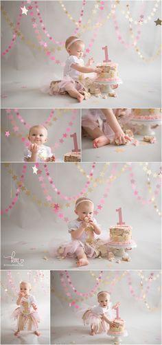 Pink & Gold Twinkle Little Star 1st Birthday Cake Smash