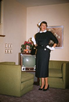 """""""A woman at her Zenith""""  Yep....looked like this, watched the TV like this on the chartreuse chairs we had."""