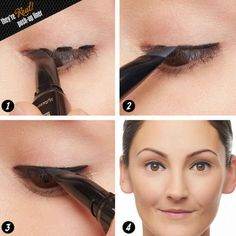 Instead of drawing on winged eyeliner, use your eyeliner pen as a stamp.