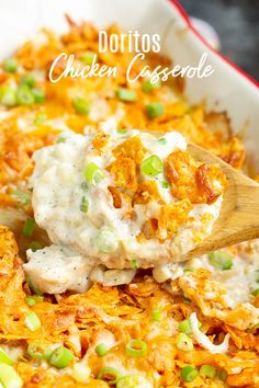 Chicken Doritos Casserole Recipe has a creamy flavor sauce, chicken, cheese, no 'cream of' soup, and topped off with crunchy, family-favorite Doritos chips! #chicken #casserole #dinner #Doritos #recipe #chips #cornchips Doritos Casserole, Casserole Dishes, Casserole Recipes, Recipes For Casseroles, Dinner For One, Baked Chicken Tacos, Chicken Dips, Easy Dinner Recipes, Easy Meals
