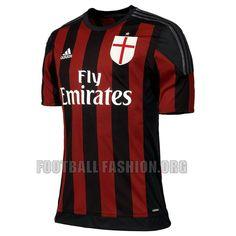 AC Milan 2015 2016 adidas Home Football Kit, Soccer Jersey, Shirt, Gara, Maglia
