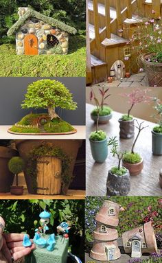 More fairy garden wish list ideas for April 2014. Clockwise from upper left: Fairy house made of milk carton, glued stones, and chicken wire Gnome door glued/nailed to side of a staircase with little planters outside Miniature polymer clay pots for miniature fairy plants Fairy house made of stacked terra cotta pots Fairy accessories made …