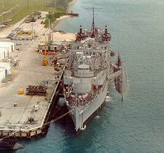 USS Puffer: aerial view of the boat tied up to the Proteus in Guam.