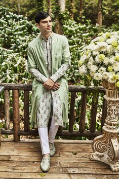 Scents of wild summer herbs fill the air as we plunge into the colours of sage, this season. Our Anita Dongre Man is embedded with heritage crafts and handcrafted details. Engagement Dress For Groom, Wedding Outfits For Groom, Wedding Dress Men, Engagement Dresses, Wedding Men, Bridal Outfits, Indian Men Fashion, Men's Fashion, Fashion Trends