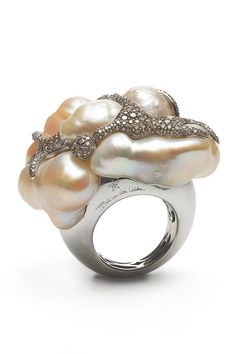 AA Pearls oval /& pearls gold plated et cristal Mix Ring