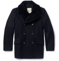 Givted-shearling collar #wool #peacoat