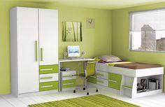 Dormitorio juvenil verde y blanco 02