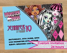 Shop for on Etsy, the place to express your creativity through the buying and selling of handmade and vintage goods. Shopkins Invitations, Birthday Invitations, Personalized Invitations, Custom Invitations, Monster High Invitations, Monster High Birthday, Monster High Custom, Printables, Handmade Gifts