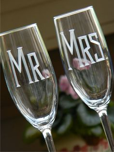 Personalized MR & MRS Champagne Toasting Flutes, Set of 2 on Etsy, $36.00