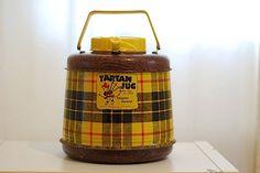 Vintage mid century tartan jug, mad men thermos, home decor, camping cooler, beverage holder, hot and cold liquids, fiberglass. $38.00, via Etsy.