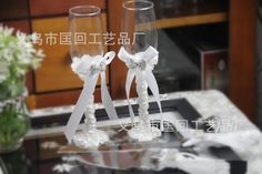 2016 New Arrival Wedding Wine Glasses Set With Crystal And Bow Accessory Supply For Bride And Groom Gl001 From Freedomlife, $30.16 | Dhgate.Com