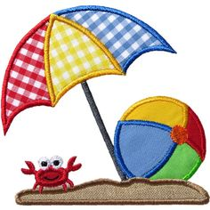 Beach Umbrella Ball Applique Machine Embroidery by HappyApplique