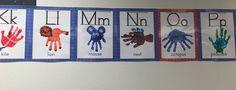 Student made handprint alphabet chart