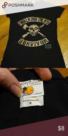 Walking Dead Survivor black t-shirt Sz Med V-neck, black short sleeve Walking Dead t-shirt complete with zombie & all! Very comfy and only worn a few times. Very well taken care of - like new! Size medium Bay Island Tops Tees - Short Sleeve