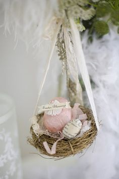 Shabby easter eggs in a nest