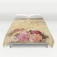 #vintage #roses #floral #flowers #romantic #pretty #beautiful #duvetcover #bedroom in different #homedecor products. Check more at society6.com/julianarw