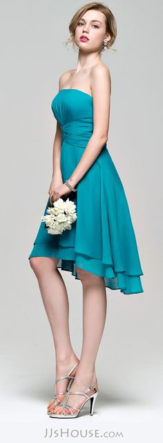 A-Line/Princess Strapless Asymmetrical Chiffon Bridesmaid Dress With Ruffle