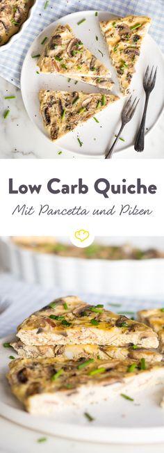 Die Low Carb Quiche braucht keinen Teig, sondern nur knusprigen Pancetta, zarte Pilze und einen feinen Eiermix, um dich zu begeistern. Gleich ausprobieren!