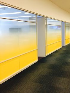 This yellow really pops! Try this idea in your office space to allow for privacy and light! Corporate Interiors, Office Interiors, Window Design, Wall Design, Glass Film Design, Glass Signage, Window Graphics, Office Graphics, Cool Office Space