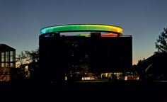 """ARoS Museum of modern art in Aarhus, Denmark. This the viewing tower on top of it! Known as """"your rainbow panorama"""" Light Building, Building Facade, Cgi, Glass Walkway, Icelandic Artists, Facade Lighting, Lighting Design, Outdoor Stage, Olafur Eliasson"""