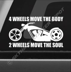 2 Wheels Move The Soul Bumper Sticker Vinyl Decal Motorcycle Cruiser Chopper Bik Triumph Chopper, Sportster Chopper, Chopper Motorcycle, Custom Moped, Custom Choppers, Custom Bikes, Harley Davidson Decals, Chopper Kits, American Chopper