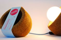 Globa][ natural cork lamp by Corchetes][