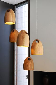Oak Pendant Light, by Ross Gardam