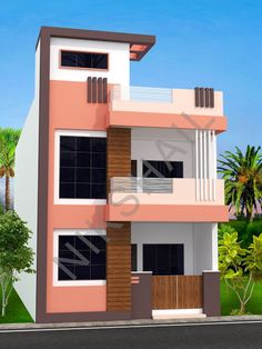 20x50 House plan with 3d elevation option b House Front Wall Design, House Outside Design, Small House Design, Modern House Design, Door Design, 3 Storey House Design, Duplex House Design, Free House Plans, Modern House Plans