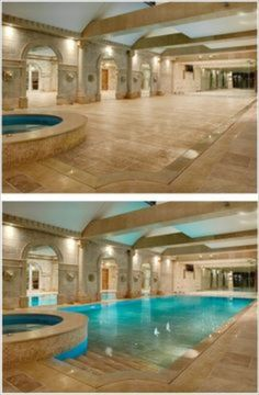 This Hydrofloor variable depth pool has a floor that rises up and down by hydraulics to either expose or hide the pool water at whatever depth you want. Notice that the pool appears to extend to the left beyond the archways, but the arches may frame mirrors….I could not find out.