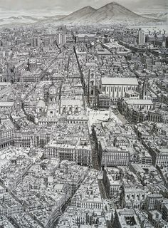 With his Cityscapes series, the Dutch artist Stefan Bleekrode demonstrates the power of his visual memory by drawing major cities of the world with a lot of s Landscape Drawings, Architecture Drawings, Art Drawings, Drawing Sketches, Cityscape Drawing, City Drawing, House Drawing, Amazing Drawings, Amazing Art