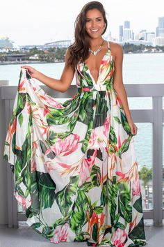 Get this pretty White and Green Floral Maxi Dress from Saved by the Dress Boutique. This maxi dress features fabulous floral print with criss cross back detail! Beautiful Maxi Dresses, White Maxi Dresses, Floral Maxi Dress, Boho Dress, Cute Dresses, Navy Maxi, Awesome Dresses, Casual Dresses, Moda Floral