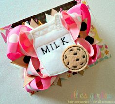 Embroidered Milk and Cookie Boutique Style Bow by elliesgarden, $11.49