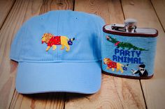 Get the party started or keep the party going at every darty this summer with the Smathers & Branson Party Animal Hat and Flask! Day Drinking, Animal Hats, Get The Party Started, Hand Stitching, Needlepoint, Flask, Light Blue, Sun, Summer