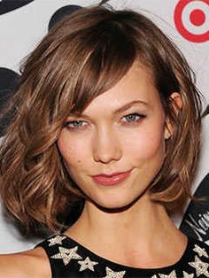Short Haircuts for Heart Shaped Faces: Chin Length Bob with Side Swept Bangs, Karlie Elizabeth Kloss