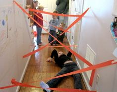 Rainy day activity to try with the kids... indoor spy training. My boys will LOVE this