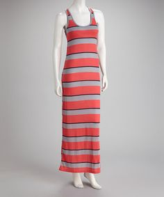 Take a look at this Gray & Coral Stripe Maxi Dress by La Class on #zulily today! $19.99, regular 40.00